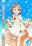 ahoge blush braids character_name dress love_live!_school_idol_festival love_live!_sunshine!! orange_hair red_eyes short_hair smile takami_chika wedding
