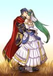 1boy 1girl armor artist_request bare_shoulders blue_eyes blue_hair bouquet bridal_veil bride cape couple dress fire_emblem fire_emblem:_rekka_no_ken fire_emblem_heroes flower gloves green_eyes green_hair groom hector_(fire_emblem) long_hair lyndis_(fire_emblem) ponytail short_hair smile veil wedding wedding_dress white_flower