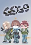 3girls akaboshi_koume antennae antyobi0720 bangs black_footwear black_gloves black_jacket blitz_(rainbow_six_siege) blue_eyes blue_footwear blue_pants blush boots brown_hair character_name chibi closed_mouth commentary_request computer eyebrows_visible_through_hair from_side girls_und_panzer gloves gradient gradient_background green_shirt grey_background grey_footwear gsg_9 gun handgun highres holding hood hoodie iq_(rainbow_six_siege) itsumi_erika jacket jaeger_(rainbow_six_siege) letter light long_hair long_sleeves looking_at_viewer motion_lines multiple_girls nishizumi_maho open_mouth pants pouch rainbow_six_siege riot_shield shirt short_hair silver_hair smile sparkle standing striped striped_shirt sweatdrop tactical_clothes trigger_discipline vest wavy_hair weapon weapon_request white_shirt