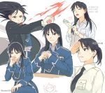 1boy 1girl =3 amestris_military_uniform antenna_hair arms_up black_coat black_eyes black_hair braid closed_eyes coat dirty dirty_face edward_elric elbows_on_table expressionless eyebrows_visible_through_hair fire floating_hair frown fullmetal_alchemist genderswap genderswap_(mtf) gloves grey_shirt hand_on_own_chin hands_together image_sample ing-eo_(polaris599) interlocked_fingers legs_crossed light_smile long_hair long_sleeves looking_away looking_up middle_finger military military_uniform necktie no_mouth no_nose open_mouth ponytail roy_mustang salute shirt simple_background sweatdrop translation_request twitter_sample twitter_username uniform upper_body white_background white_shirt