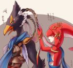 1boy 1girl dressing_another friends green_eyes looking_at_another loz_017 mipha open_mouth revali rito standing the_legend_of_zelda the_legend_of_zelda:_breath_of_the_wild yellow_eyes zora