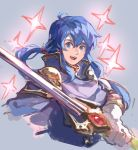 1boy blue_eyes blue_hair cape celice_(fire_emblem) fire_emblem fire_emblem:_seisen_no_keifu fire_emblem:_thracia_776 garmmy gloves headband holding holding_sword holding_weapon long_hair looking_at_viewer male_focus ponytail simple_background smile solo sword traditional_media tyrfing_(fire_emblem) watercolor_(medium) weapon