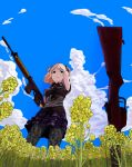 1girl 3f1n92k0 arm_behind_head battle_rifle blonde_hair clouds day flower fn_fal gloves gun holding holding_gun holding_weapon horns original outdoors pantyhose rifle sky solo weapon