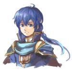 1boy blue_eyes blue_hair cape celice_(fire_emblem) fire_emblem fire_emblem:_seisen_no_keifu fire_emblem:_thracia_776 garmmy headband long_hair looking_at_viewer male_focus ponytail portrait simple_background smile solo traditional_media watercolor_(medium) white_background