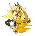 1girl ampharos bangs black_choker black_eyes black_legwear blonde_hair breasts choker closed_mouth dress earrings eyebrows_visible_through_hair fingerless_gloves fingernails full_body gloves hair_intakes headband high_ponytail highres jacket jewelry long_hair medium_breasts momoshiro open_clothes open_jacket pantyhose parted_bangs personification pokemon simple_background sitting solo very_long_hair white_background white_dress white_gloves yellow_jacket