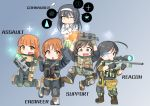 5girls :3 absurdres ahoge akiyama_yukari antyobi0720 bangs battlefield_(series) battlefield_4 belt black_gloves black_hair black_jacket blouse blunt_bangs boots brown_footwear brown_gloves camouflage chibi closed_mouth elbow_pads english eyebrows_visible_through_hair fang frown girls_und_panzer gloves glowing glowing_eye gradient gradient_background green_skirt grey_background gun hand_on_own_chin highres holding isuzu_hana jacket jumping knee_pads long_hair long_sleeves looking_at_another looking_at_viewer multiple_girls nishizumi_miho one_eye_closed ooarai_school_uniform open_mouth orange_hair pleated_skirt plus_sign pouch reizei_mako rifle school_uniform scope serafuku short_hair skirt sleeves_rolled_up smile sniper_rifle standing standing_on_one_leg sweatdrop tactical_clothes takebe_saori thinking tools utility_belt vest weapon white_blouse white_hair wrench yellow_eyes