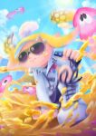 1girl badge bike_shorts black_shorts blonde_hair blue_sky boots brown_eyes button_badge closed_mouth clouds clumeal day domino_mask highres holding holding_paintbrush inkbrush_(splatoon) inkling light_rays long_hair long_sleeves mask one_knee outdoors over_shoulder paintbrush pointy_ears shorts sky solo splatoon splatoon_2 squid sun sunbeam sunglasses sunlight tentacle_hair white_footwear zipper zipper_pull_tab