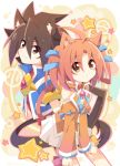 1boy 1girl ahoge animal_ears bare_shoulders blue_background blue_jacket blue_ribbon brown_eyes brown_hair cat_ears cat_tail detached_sleeves hair_ribbon highres ichibanboshi_no_rei jacket long_sleeves looking_at_viewer multicolored multicolored_background orange_shirt pink_background pink_ribbon pleated_skirt raira_april red_shirt rento_(rukeai) ribbon saikyou_ginga_ultimate_zero_~battle_spirits~ shirt short_hair short_sleeves skirt smile spiky_hair star tail thigh_ribbon twintails white_skirt yellow_background