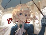 1girl blonde_hair blue_eyes blue_jacket blush braid brooch commentary crown_braid hair_between_eyes hair_intakes hair_ribbon holding holding_umbrella jacket jewelry mechanical_arms mechanical_hand mechanical_hands parasol petals pink_lips prosthesis prosthetic_arm prosthetic_hand red_ribbon ribbon smile umbrella violet_(flower) violet_evergarden violet_evergarden_(character) white_neckwear work_in_progress yume_ou