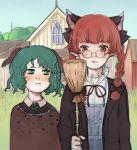 2girls :i american_gothic animal_ears bolo_tie braid broom cat_ears closed_mouth dog_ears dress extra_ears eyebrows fine_art_parody glasses green_eyes green_hair hair_ribbon highres holding kaenbyou_rin multiple_girls parody pointy_ears pout red_eyes redhead ribbon shirt short_hair svveet touhou twin_braids window