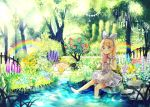 1girl :t animal apron barefoot bird blonde_hair blue_bow blue_flower blue_hairband blue_ribbon blue_skirt blush bow bread closed_mouth commentary_request day eating flower food green_eyes hair_ribbon hairband highres holding holding_food lamppost looking_at_viewer nature orange_flower original outdoors pink_flower pink_rose pond purple_flower rabbit rainbow revision ribbon rock rose sakura_oriko shirt sign sitting skirt sleeveless sleeveless_shirt soaking_feet solo striped sunlight tree vertical-striped_skirt vertical_stripes waist_apron water white_apron white_flower white_shirt wrist_bow yellow_flower