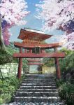 absurdres caution_tape cherry_blossoms day flower highres niko_p no_humans original outdoors scenery shrine sign signature stairs torii translation_request tree