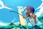 1boy 1girl aipom bare_arms bare_legs bare_shoulders barefoot blue_hair blue_sky brown_eyes closed_mouth dark_skin day denim drooling fisheye fishing fishing_line fishing_rod floating full_body gen_1_pokemon gen_2_pokemon gen_7_pokemon gym_leader highres holding holding_fishing_rod iris_(pokemon) jeans lapras leaning_on_person liline_(liline_01) long_hair looking_at_another mew nose_bubble ocean open_mouth outdoors pants pokemon pokemon_(creature) ponytail purple_hair riding shirt short_hair short_sleeves skirt sky sleeping sleeveless sleeveless_shirt smoke sunglasses swimming tearing_up tongue tongue_out volcano water wide_ponytail wishiwashi