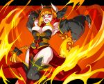 1girl :d black_gloves black_legwear black_wings braid breasts curvy detached_sleeves emboar eyebrows_visible_through_hair feathered_wings fingerless_gloves fire gen_5_pokemon gloves hair_intakes head_wings highres horns large_breasts letterboxed long_hair long_skirt long_sleeves momoshiro open_mouth orange_hair pelvic_curtain personification pokemon red_eyes red_skirt ribbon-trimmed_sleeves ribbon_trim skirt smile solo thigh-highs twin_braids v-shaped_eyebrows wide_sleeves wings
