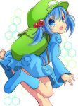 1girl backpack bag bangs blue_eyes blue_footwear blue_hair blue_skirt boots eyebrows_visible_through_hair from_side green_hat hair_bobbles hair_ornament hat highres inon juliet_sleeves kawashiro_nitori long_sleeves looking_at_viewer open_mouth pouch puffy_sleeves skirt skirt_set solo touhou twintails