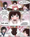 3girls 3koma admiral_paru akagi_(kantai_collection) ark_royal_(kantai_collection) black_hair blush brown_eyes brown_hair comic fainting food fubuki_(kantai_collection) giant_food happy ice_cream ice_cream_cone kaga_(kantai_collection) kantai_collection long_hair multiple_girls o_o oversized_object parody ponytail saliva sweatdrop the_simpsons