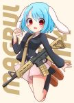 1girl animal_ears assault_rifle bangs black_legwear blue_hair brown_footwear eyebrows_visible_through_hair floppy_ears full_body gun highres inon kneehighs long_sleeves looking_at_viewer m4_carbine magpul open_mouth pink_skirt pleated_skirt rabbit_ears red_eyes reisen rifle shoes short_hair skirt solo strap touhou weapon