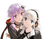 2girls :o ahoge animal_hood bangs blue_eyes blush bob_(biyonbiyon) bunny_hood chains collar collarbone commentary_request fingerless_gloves gloves grin hair_ornament headphones hood hood_down hoodie hug jacket kizuna_akari leash long_hair long_sleeves looking_at_viewer multiple_girls orange_gloves purple_hair short_hair_with_long_locks sidelocks simple_background smile upper_body violet_eyes vocaloid voiceroid white_background white_hair yuzuki_yukari