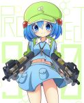 1girl backpack bag blue_skirt blush bullet bullpup closed_mouth commentary_request cowboy_shot dual_wielding eyebrows_visible_through_hair green_hat gun hair_between_eyes hair_bobbles hair_ornament hat highres inon kawashiro_nitori key navel p90 pouch skirt skirt_set smile solo submachine_gun touhou twintails v-shaped_eyebrows weapon