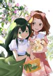 2girls asui_tsuyu bag boku_no_hero_academia bow brown_hair dress flower frills green_bow green_hair green_nails highres jiu_tiao leaf long_hair multiple_girls nail_polish open_mouth pink_bow pink_dress pink_nails puffy_short_sleeves puffy_sleeves scrunchie short_hair short_sleeves smile uraraka_ochako very_long_hair