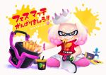 +_+ 1girl 2017 boots brown_eyes closed_mouth clumeal cup dated domino_mask drinking_straw eating food food_in_mouth french_fries full_body highres hime_(splatoon) indian_style inkling_(language) looking_at_viewer mask mcdonald's mole mole_under_mouth multicolored_hair nintendo_switch paint_splatter pantyhose pink_hair pink_legwear red_shirt shirt short_hair short_sleeves sitting smile solo splatoon splatoon_2 symbol-shaped_pupils t-shirt tentacle_hair translation_request twitter_username two-tone_hair white_footwear white_hair