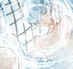 1other androgynous antarcticite colored_eyelashes hair_over_one_eye houseki_no_kuni light_reflection_(water) nude short_hair shumiko_(kamenokoueki) solo upper_body water white_eyes white_hair