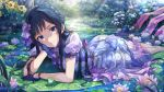 1girl artist_request bangs black_hair blue_eyes blue_gloves blush bow closed_mouth day dress flower frog gloves hair_ornament idolmaster idolmaster_million_live! idolmaster_million_live!_theater_days leaf long_hair looking_at_viewer lying mogami_shizuka official_art on_stomach outdoors short_sleeves smile solo sunflower sunlight water wet wet_clothes