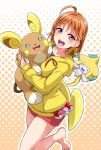 1girl :d ahoge alolan_raichu bangs barefoot blush bow braid commentary_request crossover drawstring hair_bow halftone halftone_background highres holding holding_pokemon hood hood_down jirachi long_sleeves love_ball love_live! love_live!_sunshine!! open_mouth orange_hair outline poke_ball pokemon pokemon_(creature) red_eyes red_shorts round_teeth short_shorts shorts side_braid smile solo standing standing_on_one_leg takami_chika teeth upper_teeth white_outline yellow_bow yellow_hoodie yopparai_oni