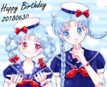 2girls alternate_hair_color alternate_hairstyle bangs bishoujo_senshi_sailor_moon blue blue_background blue_eyes blue_hair blue_sailor_collar bow bracelet braid chibi_usa closed_mouth crescent dated earrings finger_to_mouth hair_bow happy_birthday hat hat_bow hoshikuzu_(milkyway792) jewelry long_hair looking_at_another multiple_girls parted_bangs red_bow red_eyes sailor sailor_collar smile star striped striped_background tsukino_usagi twin_braids upper_body white_hat