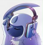 absol closed_eyes drawfag facing_viewer fang glint grey_background headphones no_humans pokemon pokemon_(creature) portrait simple_background