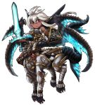 1girl armor belt brown_gloves centauroid chibi dark_skin gloves granblue_fantasy highres holding holding_sword holding_weapon long_hair looking_at_viewer monsterification red_eyes shield silver_hair solo standing sword takoyakin weapon zooey_(granblue_fantasy)