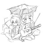 2girls :o animal_ears bangs bare_shoulders blush bow bowtie breasts cat_ears cat_tail closed_mouth damaged elbow_gloves eyebrows_visible_through_hair fingerless_gloves gloves greyscale hair_between_eyes highres holding holding_instrument holding_umbrella hood hood_up hoodie instrument kemono_friends long_sleeves looking_away looking_up makuran medium_breasts monochrome multiple_girls parted_lips rain sand_cat_(kemono_friends) shirt shoes sitting sketch sleeveless sleeveless_shirt tail tsuchinoko_(kemono_friends) umbrella