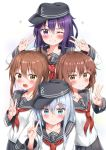4girls absurdres akatsuki_(kantai_collection) anchor_symbol black_sailor_collar black_skirt blue_eyes brown_eyes brown_hair flat_cap folded_ponytail hair_between_eyes hat hibiki_(kantai_collection) highres ikazuchi_(kantai_collection) inazuma_(kantai_collection) kantai_collection long_hair looking_at_viewer multiple_girls neckerchief nedia_(nedia_region) one_eye_closed pleated_skirt pose purple_hair sailor_collar school_uniform serafuku silver_hair simple_background skirt upper_body violet_eyes white_background