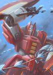 battle commentary_request debris fantasy galient highres kikou-kai_galient mecha mercy_rabbit no_humans science_fiction shiny solo upper_body whip_sword