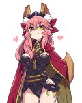 1girl animal_ears black_leotard bow cape caster_(fate/extra) chan_co closed_mouth commentary_request cosplay ereshkigal_(fate/grand_order) ereshkigal_(fate/grand_order)_(cosplay) eyebrows_visible_through_hair fate/extra fate/grand_order fate_(series) fox_ears fox_girl hair_between_eyes hair_bow hair_ornament leotard long_hair long_sleeves looking_at_viewer pink_hair pink_heart red_bow red_cape single_sleeve skull smile smug solo spine tail tamamo_(fate)_(all) tamamo_no_mae_(fate) thighs tiara tohsaka_rin tohsaka_rin_(cosplay) yellow_eyes