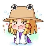 >_< 1girl :d bangs beamed_eighth_notes blonde_hair blush brown_footwear brown_hat commentary_request eighth_note eyebrows_visible_through_hair facing_viewer hair_ribbon hana_kazari hat heart long_hair long_sleeves moriya_suwako musical_note open_mouth parted_bangs purple_skirt purple_vest red_ribbon ribbon shirt skirt sleeves_past_fingers sleeves_past_wrists smile solo squatting touhou translation_request vest white_background white_shirt xd