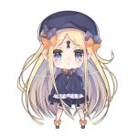 1girl :o abigail_williams_(fate/grand_order) bangs black_bow black_dress black_footwear black_hat blonde_hair bloomers blue_eyes blush bow bug butterfly cer_(cerber) chibi dress fate/grand_order fate_(series) full_body hair_bow hands_up hat insect keyhole long_hair long_sleeves lowres orange_bow parted_bangs parted_lips pointy_ears polka_dot polka_dot_bow simple_background sleeves_past_fingers sleeves_past_wrists solo standing underwear very_long_hair white_background white_bloomers