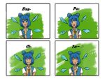 1girl blue_hair cirno comic despacito deviantartmossington english fairy highres ice ice_wings looking_at_viewer loss meme musical_note pegazora spoken_musical_note tan tanned_cirno touhou wings