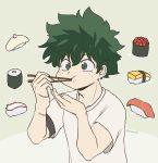 1boy boku_no_hero_academia chopsticks eating food freckles green_background green_eyes green_hair gunkanmaki hamsue highres makizushi midoriya_izuku nigirizushi scar shirt short_hair solo sushi t-shirt upper_body
