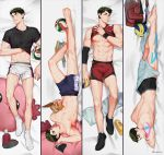 1boy abs bag barefoot black_footwear black_shirt black_underwear brown_eyes brown_hair dakimakura duffel_bag elbow_sleeve haikyuu!! highres hingdoong looking_at_viewer lying magazine multiple_views muscle on_back on_bed on_stomach pillow reading shirt shirt_lift shorts socks stuffed_toy tape twitter_username ushijima_wakatoshi volleyball white_footwear