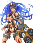 1girl android blue_hair breasts commentary_request cyborg forehead_protector gatling_gun head_mounted_display kos-mos kos-mos_(archetype) long_hair mecha_musume minigun nude parts_exposed simple_background solo very_long_hair virtues xenosaga xenosaga_episode_i