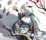 1boy branch ema from_behind hair_between_eyes horns japanese_clothes long_hair looking_at_viewer looking_back nexie nijisanji official_art outdoors parted_lips pointy_ears red_eyes red_rope rope sleeves_past_wrists squatting umiyasha_no_kami very_long_hair virtual_youtuber white_hair wide_sleeves
