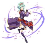 1girl blue_eyes blue_hair boots breastplate cosplay detached_sleeves eyebrows_visible_through_hair fingerless_gloves full_body gloves hairband holding holding_sword holding_weapon knee_boots leotard looking_at_viewer one_leg_raised petals purple_footwear purple_gloves purple_skirt red_hairband shinon_(sao) short_hair_with_long_locks sidelocks simple_background skirt smile solo standing standing_on_one_leg sword sword_art_online weapon white_background yuuki_(sao) yuuki_(sao)_(cosplay)
