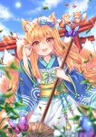1girl :d animal animal_ears apron arm_up artist_name bangs blonde_hair blue_kimono blue_sky blurry blurry_foreground blush bow broom brown_eyes bug butterfly closed_eyes clouds cloudy_sky commentary day depth_of_field dutch_angle eyebrows_visible_through_hair fang fingernails fox fox_ears fox_girl fox_tail green_bow hair_between_eyes holding holding_broom insect japanese_clothes kimono kitsune long_hair long_sleeves looking_at_viewer maid_headdress natsumii_chan open_mouth original outdoors print_kimono sky smile solo striped striped_bow sun tail torii very_long_hair wa_maid white_apron wide_sleeves