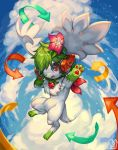 :d absurdres blue_sky clouds cloudy_sky commentary commission creature day directional_arrow english_commentary flower flying full_body green_hair hair_flower hair_ornament headphones highres no_humans open_mouth outdoors pokemon pokemon_(creature) red_eyes sa-dui shaymin short_hair signature sky smile star_(sky) starry_sky