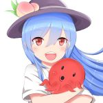 1girl :d animal bangs blue_hair blush eyebrows_visible_through_hair eyes_visible_through_hair food fruit hair_between_eyes hair_blowing hair_over_one_eye hat hinanawi_tenshi holding holding_animal leaf long_hair looking_at_viewer octopus open_mouth peach red_eyes shirt short_sleeves simple_background smile solo swept_bangs touhou upper_body upper_teeth very_long_hair white_background white_shirt zenmai-ojisan