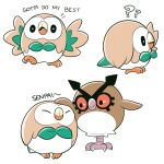 ?? bird commentary_request english gen_2_pokemon gen_7_pokemon hoothoot mary_cagle no_humans owl petting pokemon rowlet simple_background white_background
