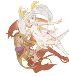 2girls ;o arm_over_head bat_hair_ornament bikini blonde_hair boots bow cape copyright_request dress grey_eyes grey_hair hair_ornament hair_ribbon knees_together_feet_apart long_hair looking_at_viewer multiple_girls navel one_eye_closed outstretched_arm red_cape red_eyes red_legwear ribbon side-tie_bikini simple_background sleeveless sleeveless_dress swimsuit thigh-highs thigh_boots totatokeke twintails white_background white_footwear white_ribbon yellow_bow yellow_ribbon