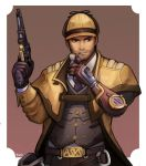 1boy alternate_costume alternate_headwear alternate_weapon belt_buckle buckle cabbie_hat coat cyborg facial_hair gloves gun handgun hat highres holding holding_gun holding_weapon kookirani male_focus mccree_(overwatch) mechanical_arm necktie overcoat overwatch pipe pistol sherlock_mccree single_glove solo steampunk stubble weapon