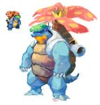 blastoise closed_mouth commentary english_commentary fusion gen_1_pokemon no_humans pokemon shell standing suhnarl venusaur venustoise watermark web_address